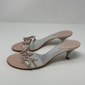 Rodo Crystal and Faux Pearl Leather Mule Sandals